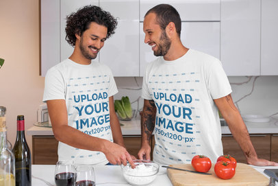 T-Shirt Mockup Featuring a Couple Having Fun in the Kitchen m1044