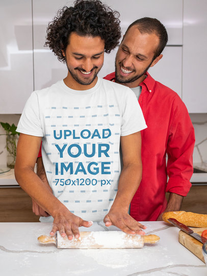 T-Shirt Mockup of a Man Cooking with His Boyfriend m1051