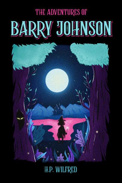 Children's Book Cover Design Template with a Fantasy Landscape 4008