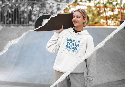 Pullover Hoodie Mockup Featuring a Woman Holding a Skateboard 5020-el1