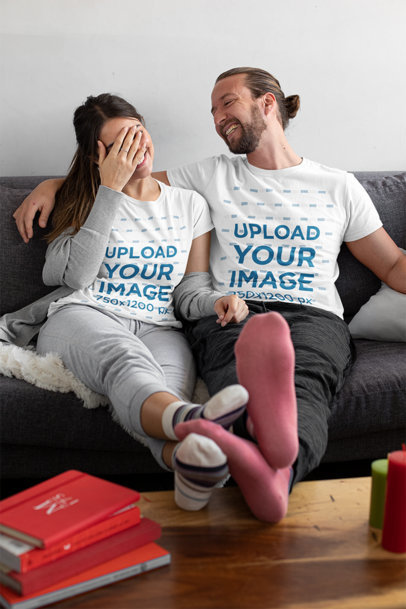 T-Shirt Mockup of a Man Laughing With His Girlfriend at Home m1091