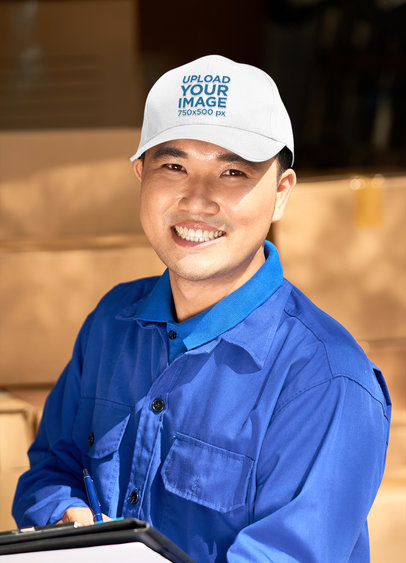 Mockup of a Happy Worker Wearing an Embroidered Dat Hat 46946-r-el2