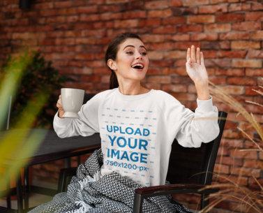 Sweatshirt Mockup of a Happy Woman Waving at Someone 46327-r-el2