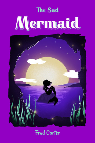 Fantasy Book Cover Maker with an Illustration of a Mermaid 4008c