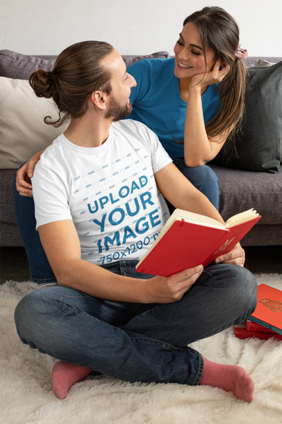 T-Shirt Mockup of a Man Enjoying a Book with His Girlfriend m1115