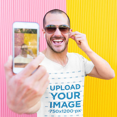 V-Neck Tee Mockup of a Smiling Man Taking a Selfie 43733-r-el2