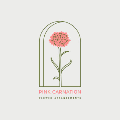Logo Template for Florists Featuring a Carnation Flower Graphic 4009g