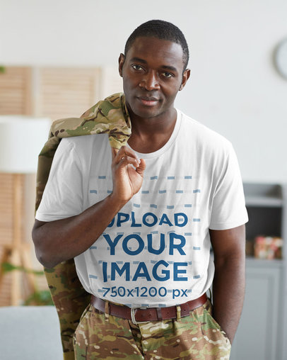T-Shirt Mockup Featuring a Soldier at Home 46659-r-el2