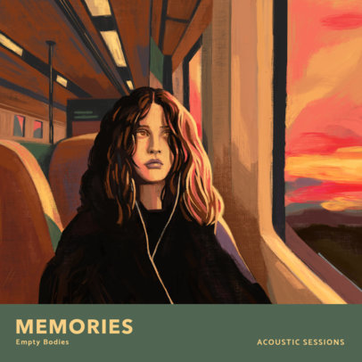 R&B Album Cover Template with a Melancholic Illustration of a Girl in a Train 3319e