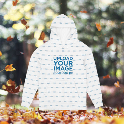 Sublimated Hoodie Mockup With a Customizable Autumn Background m1105