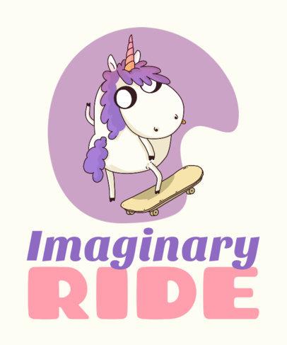 T-Shirt Design Template with a Skating Unicorn Cartoon 3317c