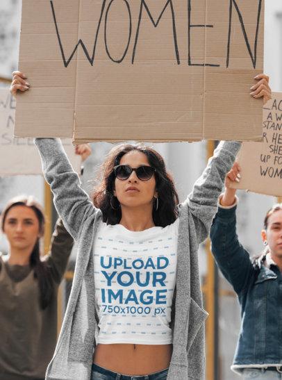 Mockup of a Woman Wearing a T-Shirt at a Feminist Meeting 46679-r-el2