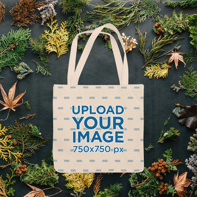 Tote Bag Mockup Featuring an Autumn Background m1110