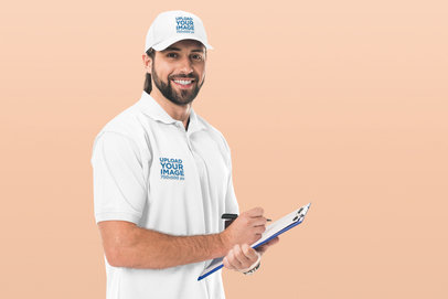 Polo Shirt and Dad Hat Mockup of a Delivery Man Holding a Clipboard 45704-r-el2