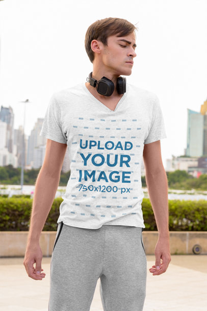 V-Neck Heather T-Shirt Mockup Featuring a Serious Man in the City 44425-r-el2