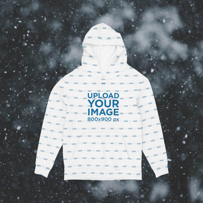Mockup of a Sublimated Hoodie with a Customizable Backdrop m1291
