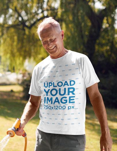 T-Shirt Mockup of an Elder Man Maintaining His Garden 46891-r-el2