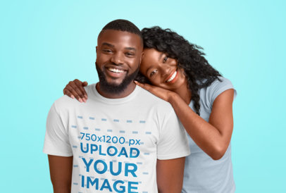 T-Shirt Mockup of a Bearded Man Posing With His Girlfriend at a Studio 46100-r-el2
