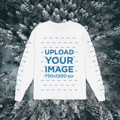 Sweatshirt Mockup Featuring a Winter-Themed Background m1298