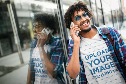 V-Neck T-Shirt Mockup of a Happy Curly-Haired Man on the Phone 46412-r-el2