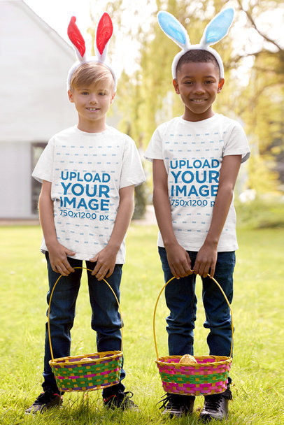 T-Shirt Mockup of Two Kids Celebrating Easter Eggs Hunt 46779-r-el2