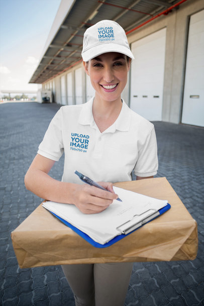 Polo Shirt and Dad Hat Mockup of a Delivery Woman at Work 40949-r-el2