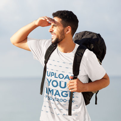 T-Shirt Mockup Featuring a Man Backpacking 46785-r-el2