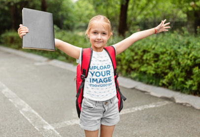 T-Shirt Mockup of an Excited Girl Going to School 45598-r-el2