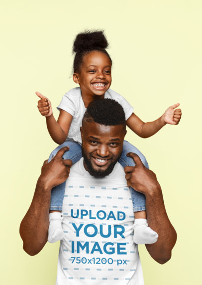 T-Shirt Mockup of a Happy Father Carrying His Daughter on His Shoulders 46091-r-el2
