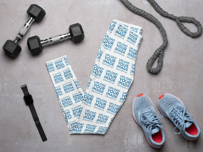 Mockup of a Pair of Leggings Lying Flat on a Gym's Floor m1171