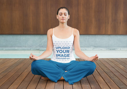 Spaghetti Strap Tank Top Mockup of a Woman Doing Yoga 46628-r-el2