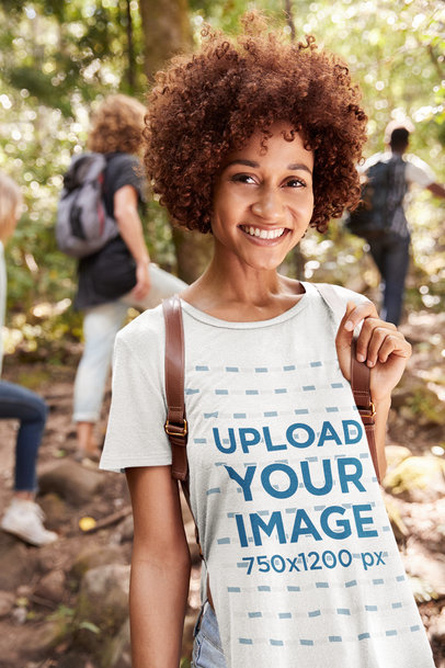 T-Shirt Mockup Featuring a Smiling Woman at a Group Hike 39317-r-el2