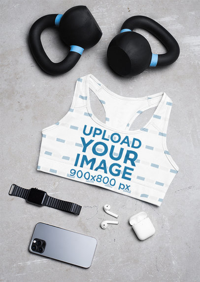 Sublimated Sports Bra Mockup Featuring Kettlebells and Fitness Gadgets M1212