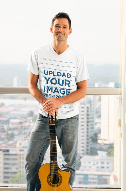 V-Neck Tee Mockup of a Guitar Player Posing in Front of a Window 40497-r-el2