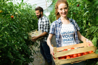T-Shirt Mockup of a Happy Woman Carrying a Tomato Box 42568-r-el2