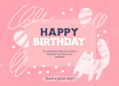 Greeting Card Design Maker with a Cat Illustration and a Happy Birthday Message 3350f