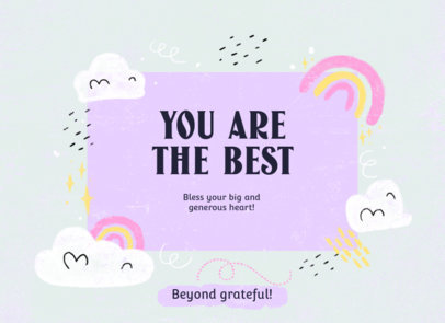 Cute Greeting Card Design Template with Rainbows  3350c