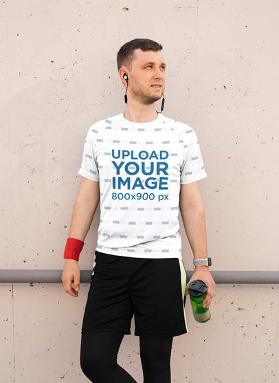 Sublimated Tee Mockup of a Man Ready to Work Out 40602-r-el2