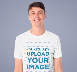 T-Shirt Mockup of a Smiling Man Standing in a Studio 46751-r-el2