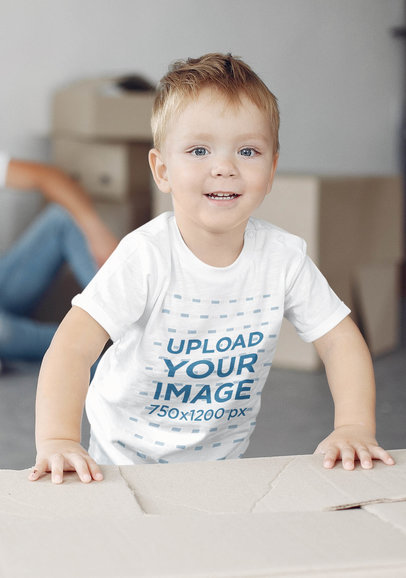 T-Shirt Mockup of a Little Boy Happily Smiling 42700-r-el2
