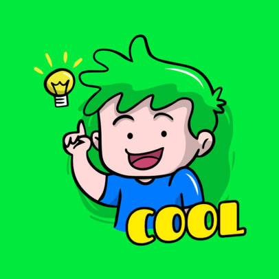 Sticker Maker Featuring a Green-Haired Character 3442b-el1