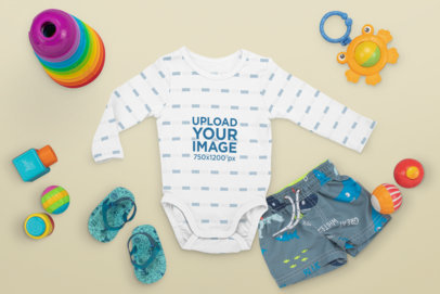 Mockup of a Baby Onesie with a Summer Outfit M1127