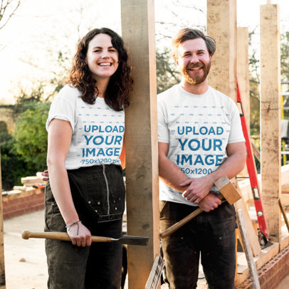 T-Shirt Mockup Featuring a Couple in a Construction Site 42445-r-el2