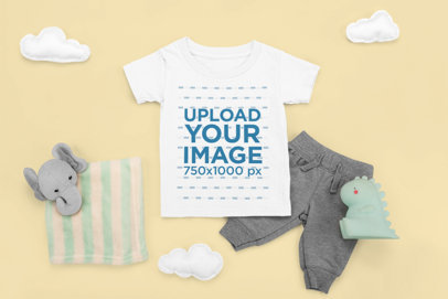 T-Shirt Mockup Featuring a Comfy Outfit for a Baby m1122