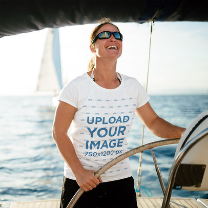T-Shirt Mockup Featuring a Smiling Woman on a Fishing Boat 40630-r-el2