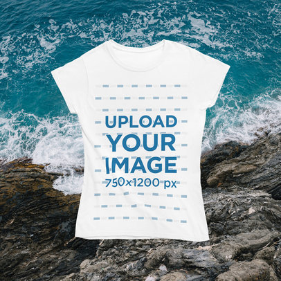 Women's T-Shirt Mockup with a Summer-Themed Customizable Background m1499