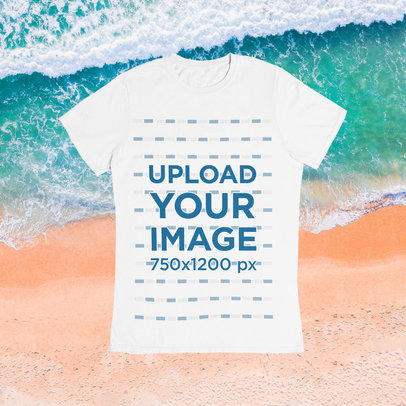 Basic T-Shirt Mockup Featuring a Summer Background m1501