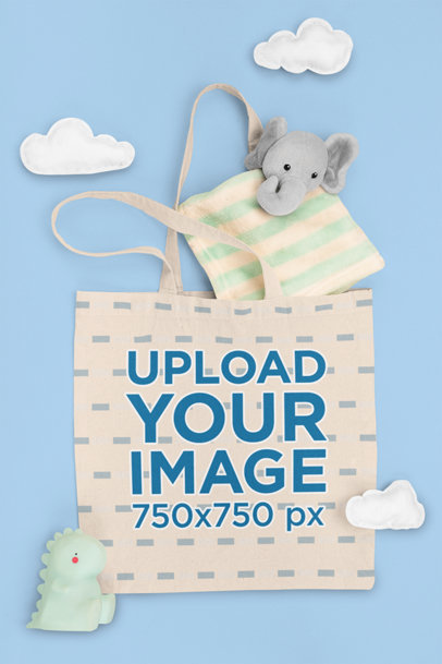 Mockup of a Tote Bag with Baby Toys m1123