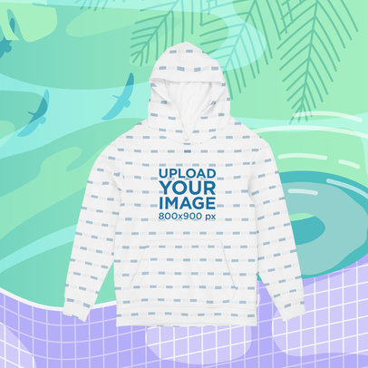 Sublimated Hoodie Mockup with an Illustrated Summer-Themed Background m1503