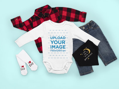 Onesie Mockup Featuring a Baby Boy's Outfit m1151